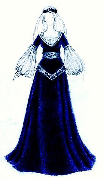 Entwurf für ein mittelalterliches kleid aus blauem samt