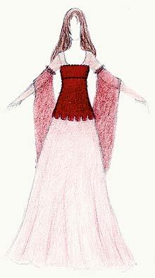Mittelalterliches kleid mit eckigem ausschnitt